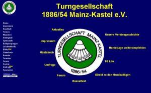 Erste Homepage des Vereins