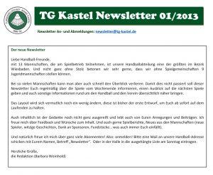 """Erster Handball-Newsletter """"TG Express"""""""